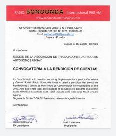 INVITACION A RENDICION DE CUENTAS